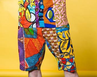 Patchwork Shorts, African Shorts, Ankara Print Clothing, Men Board Shorts, Festival Pants, Sustainable Clothing, Boho Shorts, African Print