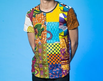 45426ce1d Colour Me Crazy T-Shirt / Men's African print shirt / Recycled Patchwork /  Festival Shirt / Mens African print clothing / Festival clothing