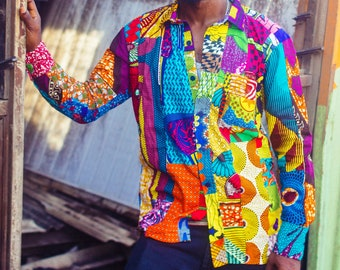cfcef3864 Colour Me Crazy // Men's Long Sleeve Shirt // Recycled Patchwork //  Festival Shirt // Summer Shirt // Colourful Shirt // Hawaiian shirt