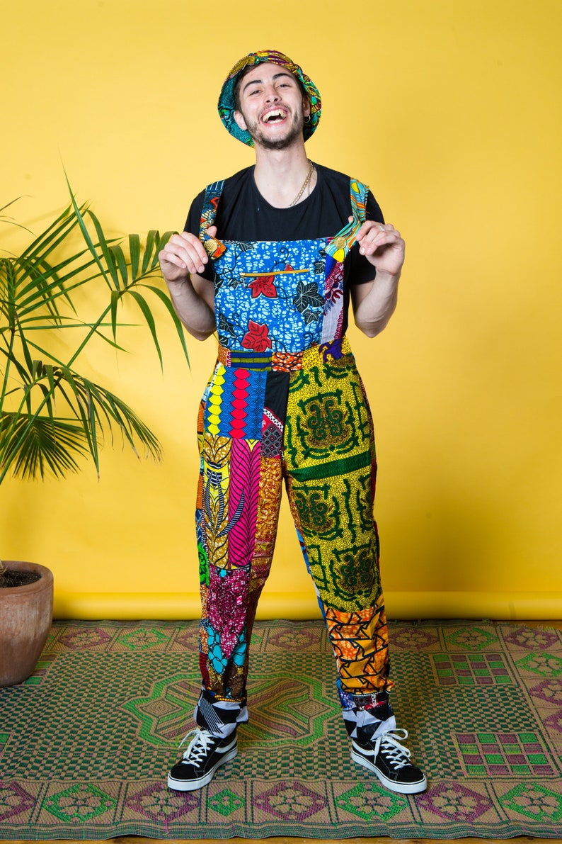 Colour Me Crazy Dungarees  Festival Dungarees  Unisex Overalls  African print clothing  Patchwork Dungarees  Patterned Jumpsuit