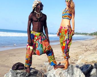 African Print Pants, Women Harem Pants, Patchwork Pants, Festival Clothing, Aladdin Pants For Men, Ethnic Clothing, Harem Trousers,Wax Print