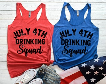 July 4th Drinking Squad, 4th of July, 4th of July Tank top, Drinkin' Like Lincoln, Drinking Shirt, Bachelorette Tank