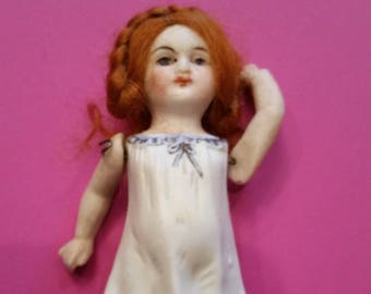 """Rare All Bisque 6062 Red Mohair Wig and Molded Chemise 4"""""""