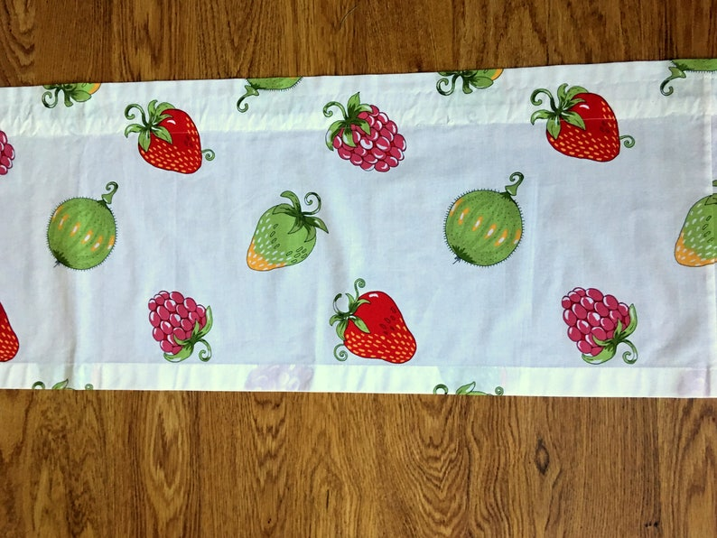 Sweet Scandinavian vintage curtain coat  valance printed on white bottom with fruit and berries in red and green from Sweden