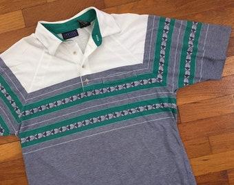 7aad5c055 80s Grey Striped Soft & Thin Mardi Gras Polo Shirt size LARGE ~ 9253