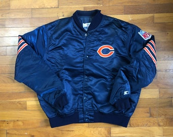Chicago Bears Vintage Sewn Patch Retro Graphic Chalk Line Satin Silk Bomber Dugout Jacket Coat