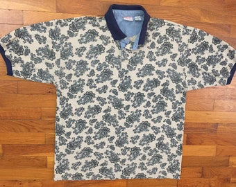 f85e3f778 vtg Bugle Boy Paisley Polo Shirt size XL ~ 27318