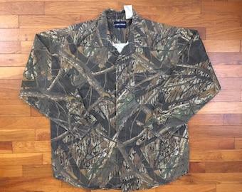 1639457462014 vtg Mossy Oak Shadow Branch Canvas Camo Shirt size XL ~ 19497