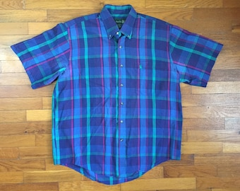 90s Blue Indian Madras Shirt size XL Trim ~ 7631 4c0ebbd036