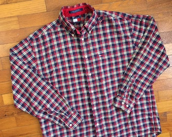 811381fa 90s Tommy Hilfiger Plaid Flag Logo Flannel Shirt size LARGE ~ 18250