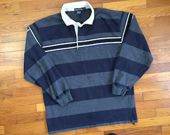 7262136e5 90s Nautica Grey & Black Striped Rugby Shirt size LARGE ~ 8615