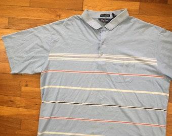 45d8d28ea vtg Powder Blue Soft & Thin Mardi Gras Polo Shirt size 2XL ~ 19031