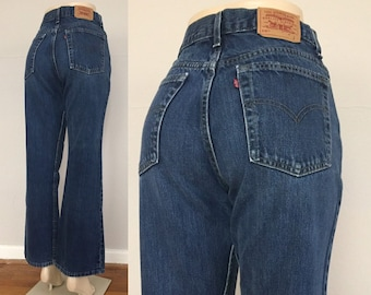 6c567561 90s Levi's 515 Dark Wash Mom Jeans size 29.5 ~ Vintage Cowgirl Flared Bootcut  Denim ~ Hipster ~ Mid Rise ~ made in usa ~ 818 ~ 29.5x30.5
