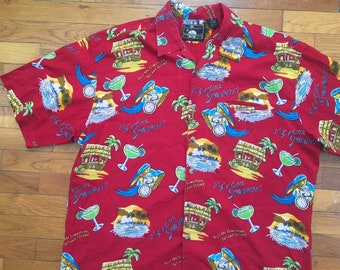 vtg Jimmy Buffett Margaritaville Parrot Head Hawaiian Shirt size XL ~ 8292 958c5dd77acd