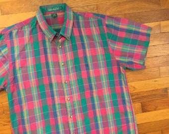 90s Colorful Indian Madras Plaid Shirt size XL ~ 8168 1baf5bbabb