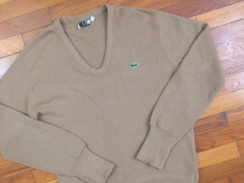 LACOSTE Mens V-neck Sweater Long Sleeve Pullover Jumper Croc Logo New Size L