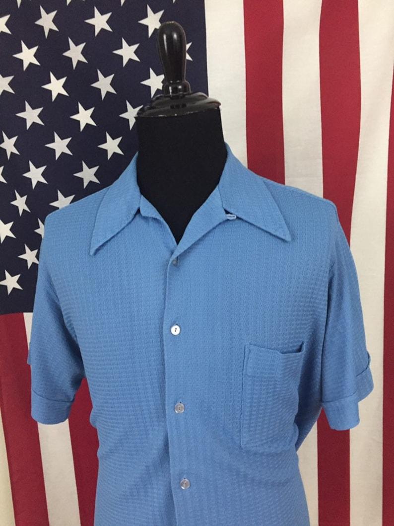 70s Wide Collar Textured Blue Hawaiian Shirt size XL ~ 19199