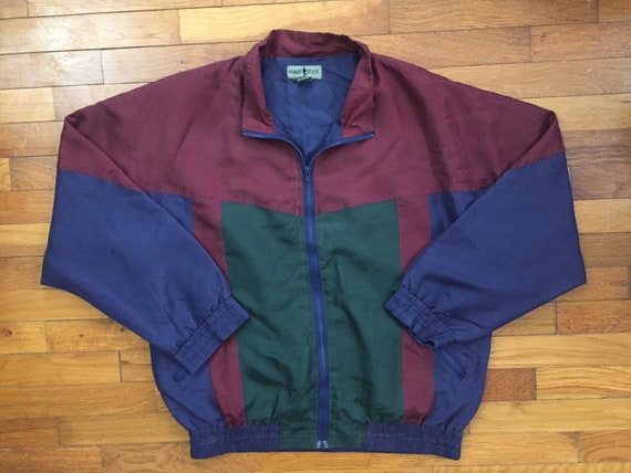 90s Robert Stock Silk Windbreaker Jacket size LARG