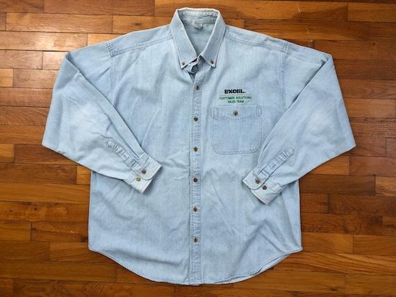 90s Excel Spreadsheet Tech Denim Shirt men's LARGE