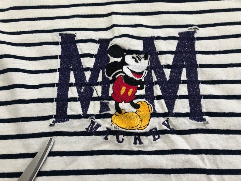 2d535 p 90s Mickey Mouse Blue Striped T-Shirt men/'s LARGE