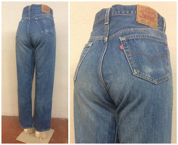 Waisted Denim ~ ~ 501 size in 32 Blue Vintage 33 ~ Normcore ~ 33x31 Boyfriend 5527 ~ Button Mom High ~ 90s ~ Levi's usa made Fly Jeans vn0P0Aq