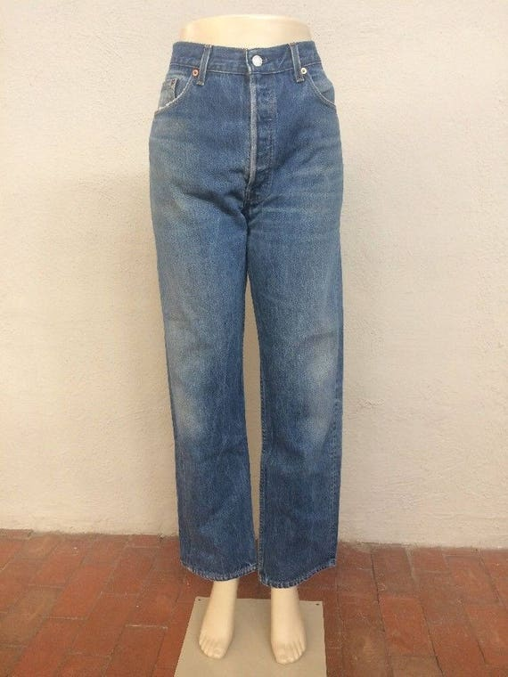 501 33 Denim 90s Button in High ~ ~ Levi's Boyfriend 5527 Waisted ~ Vintage ~ Blue Jeans 32 33x31 size Normcore made Mom ~ ~ ~ Fly usa wwPqYC