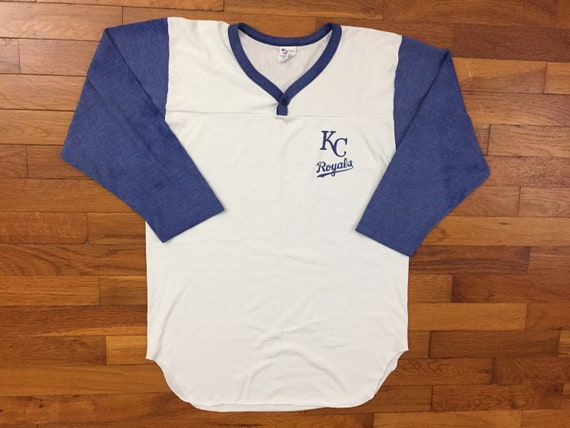 best loved f8035 17ffc 80s Kansas City Royals Champion henley Baseball Shirt size MEDIUM ~ 37240