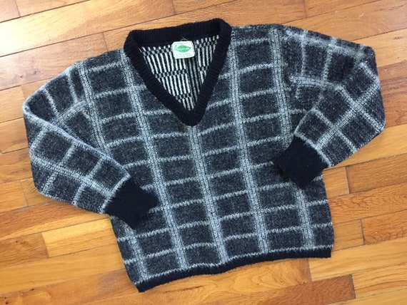 50s Kerrybrooke Wool Plaid Sweater women's SMALL ~