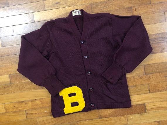 50s Varsity Letterman Wool Cardigan Sweater men's
