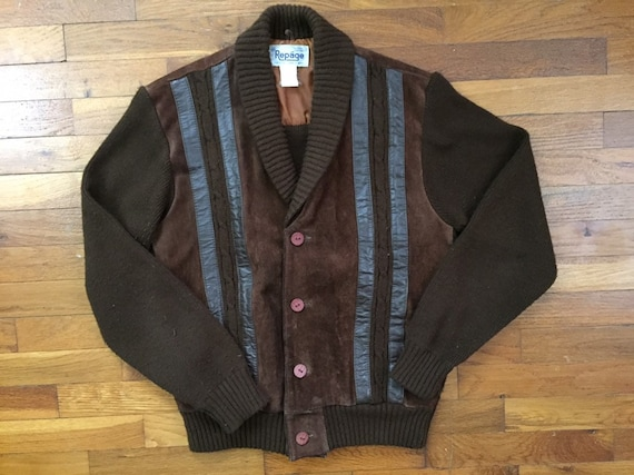 vtg Acrylic & Suede Leather Cardigan Sweater size