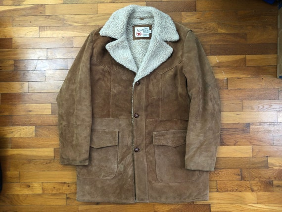 70s Sears Leather Shop Sherpa Western Jacket men's