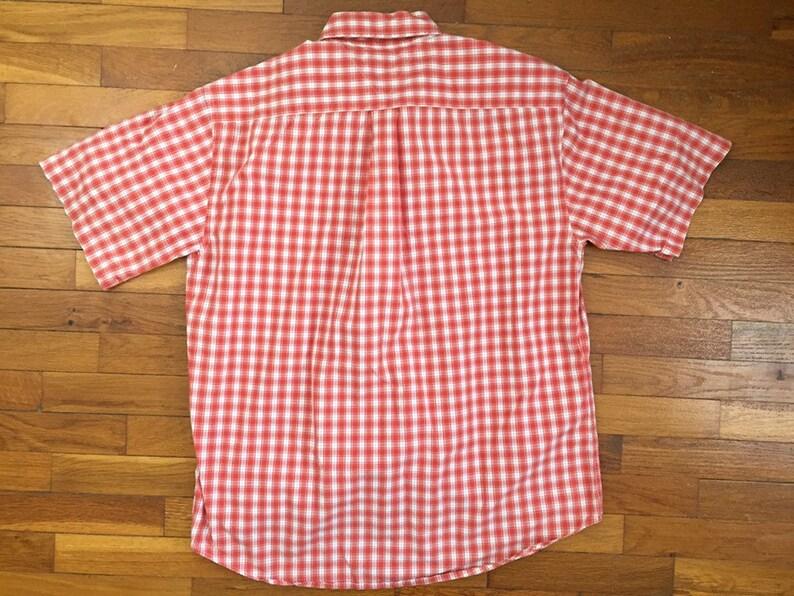 90s Tommy Hilfiger Orange Red Plaid Flag Shirt size LARGE ~ 8438