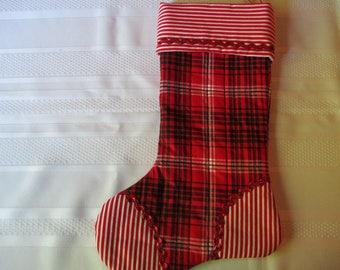 Plaid and Striped Christmas Stocking