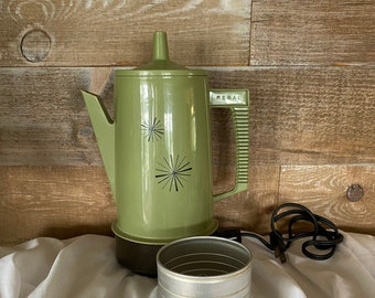 Regal Poly Perk Automatic Percolator Electric Coffee Maker Vintage Olive Green Atomic Star Design