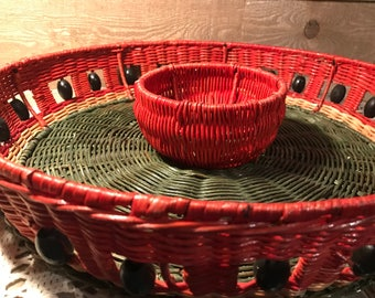 Vintage Basket Chips and Salsa Dish Green and Red