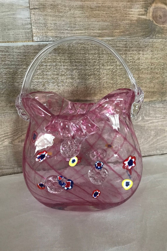 Murano Vintage Glass Purse Handbag Vase Pink Glass Purse Etsy