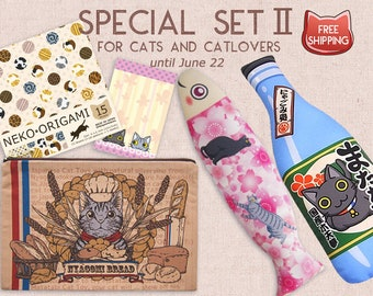 Big Japanese Cat toys Zipper pouch Origami Memo Pad Special Set, Free Shipping, Gifts for Cats, Gifts for Cat Lovers