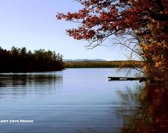 5 x 7 Greeting Card with Envelope - Monday Cove Late Afternoon, Long Lake, Harrison, Maine, Foliage, Mountains, Dock, Island