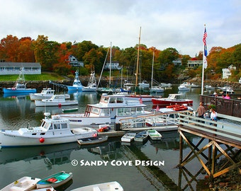 Perkins Cove #4, Ogunquit, Maine, Ocean, Boats, Coast, Seashore, Foliage, Fine Art Photo, Wall Art