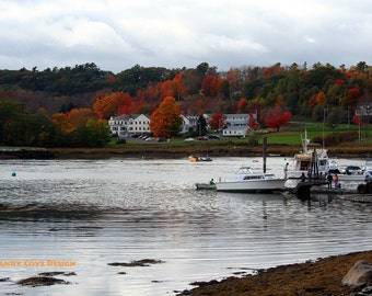 5 x 7 Greeting Card with Envelope - Damariscotta, Maine in the Fall, Seascape, Cove, Boats, Docks