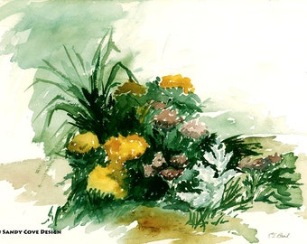 Flowers, Print from Watercolor by E.S. Beal, Bridgton, Maine, Fine Art, Wall Art