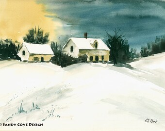 Home for the Winter, Print from Watercolor by E.S. Beal, Winter, Deansboro, New York, Snow, Trees, Sunset, Fine Art, Wall Art