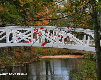 Somesville Bridge, Somesville, Maine, Stream, Reflections, Foliage, Acadia, Mt. Desert, Footbridge, Trees, Fine Art Photo, Wall Art