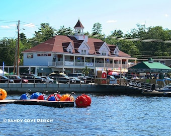 5 x 7 Greeting Card with Envelope - The Causeway at Naples, Maine, Long Lake, Summer, Old Casino, Pedal Boats