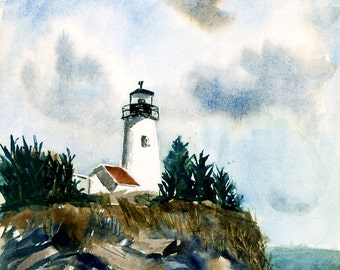 5 x 7 Greeting Card with Envelope - Lighthouse, Print from Watercolor by E.S. Beal, Maine, Rocks, Coast