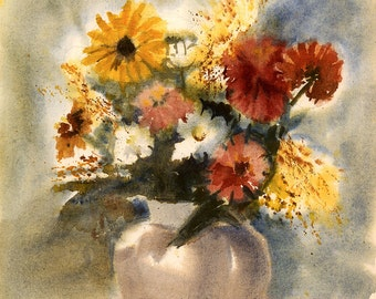 5 x 7 Greeting Card with Envelope - Still Life with Flowers, Print from Watercolor by E.S. Beal, Flowers, Black-Eyed Susans, Vase