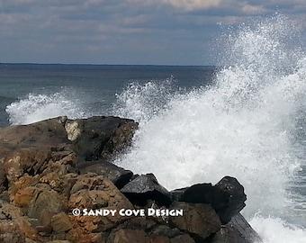 5 x 7 Greeting Card with Envelope - Spray, Ogunquit, Maine, Ocean, Rocks