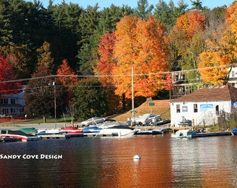 Long Lake, Harrison, Maine in the Fall, Cove, Foliage, Boats, Marina, Docks, Foliage, Reflections, Fine Art, Wall Art