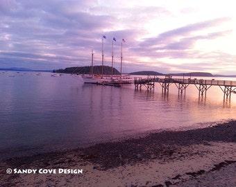 Bar Harbor Sunrise, Mt. Desert Island, Maine, Acadia National Park, Seascape, Rocks, Sailing Ship, Fine Art, Wall Art