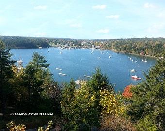 Bird's Eye View of Northeast Harbor, Maine, Seascape, Cove, Boats, Docks, Fine Art, Wall Art